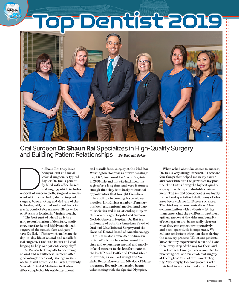 Image capture of article in Coastal Virginia Magazine naming Dr. Shaun Rai the Best Oral Surgeon of 2019